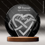 Acrylic Wood Accented Black and Clear Circular Trophy Award Employee Trophy Awards
