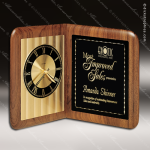 Engraved Walnut Desk Clock Gold Accented Open Book Trophy Award Employee Trophy Awards