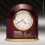Engraved Rosewood Desk Clock Gold Accented Arched Clock Award Employee Trophy Awards