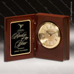 Engraved Rosewood Desk Clock Gold Accented Hinged Book Clock Award Employee Trophy Awards