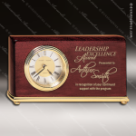 Engraved Rosewood Desk Clock Gold Accented Horizontal Clock Award Employee Trophy Awards