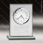 Engraved Silver Finish Desk Clock Glass Rectangle Gift Award Employee Trophy Awards