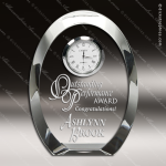 Engraved Crystal Desk Clock Oval Shaped Silver Accents Trophy Award Employee Trophy Awards