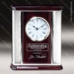 Engraved Rosewood Desk Clock Silver Accented Clock Award Employee Trophy Awards