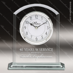 Engraved Jade Glass Desk Clock Silver Accented Arch Gift Award Employee Trophy Awards