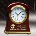 Engraved Rosewood Desk Clock Gold Accented Bell Shaped Clock Award Employee Trophy Awards