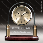 Engraved Rosewood Desk Clock Glass Gold Accented Arch Award Employee Trophy Awards
