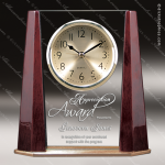 Engraved Rosewood Desk Clock Glass Gold Accented Beveled Award Employee Trophy Awards