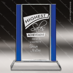 Crystal Blue Accented Rectangle Trophy Award Employee Trophy Awards