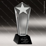 Crystal Black Accented Star Column Trophy Award Employee Trophy Awards