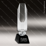 Crystal Black Accented Faceted Pillar Trophy Award Employee Trophy Awards