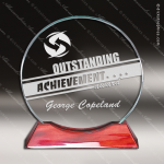 Macareno Round Glass Rosewood Accented Circle Trophy Award Employee Trophy Awards