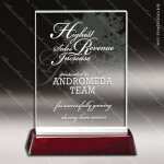 Macareno Tablet Glass Rosewood Accented Rectangle Trophy Award Employee Trophy Awards