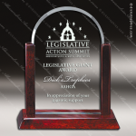 Macareno Dome Glass Rosewood Accented Arch Trophy Award Employee Trophy Awards