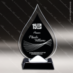 Maccord Blaze Glass Black Accented Flame or Tear Drop Trophy Award Employee Trophy Awards