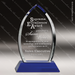 Crystal Blue Accented Cascade Trophy Award Employee Trophy Awards
