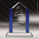Crystal Blue Accented Crystal Summit Trophy Award Employee Trophy Awards
