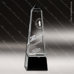 Crystal Black Accented Obelisk Trophy Award Employee Trophy Awards