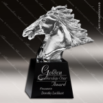 Crystal Black Accented Horse Head Trophy Award Employee Trophy Awards
