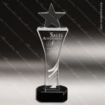 Crystal Black Accented Star Tower Trophy Award Employee Trophy Awards