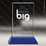 Crystal Blue Accented Pillar Trophy Award Employee Trophy Awards