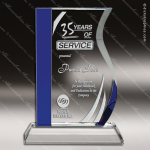 Crystal Blue Accented Wave Trophy Award Employee Trophy Awards