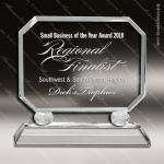 Crystal  Rectangle Clipped Corner Trophy Award Employee Trophy Awards