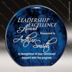 Acrylic Blue Accented Marbleized Round Aurora Trophy Award Employee Trophy Awards