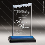 Acrylic Blue Accented Frosted Ice Impress Award Employee Trophy Awards