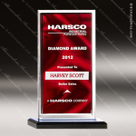 Acrylic Red Accented Clear Edged Satin Award Employee Trophy Awards