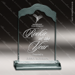 Acrylic  Jade Accented White Cap Edge Award Employee Trophy Awards