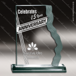 Acrylic  Jade Accented Waterfall Edge Award Employee Trophy Awards