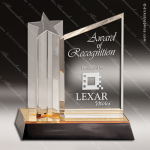 Acrylic Gold Accented Standing Star Column Award Employee Trophy Awards