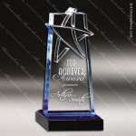 Acrylic Blue Accented Lasered Star Accent Award Employee Trophy Awards