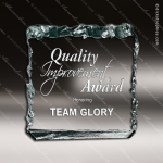 Acrylic  Jade Accented Crushed Ice Paperweight Award Employee Trophy Awards