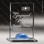 Acrylic Blue Accented Rectangle Gemstone Award Employee Trophy Awards