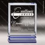 Acrylic Blue Accented Rectangle Rib Award Employee Trophy Awards