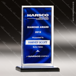 Acrylic Blue Accented Clear Edged Satin Award Employee Trophy Awards