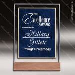 Acrylic Blue Accented Sapphire Marble Award Employee Trophy Awards