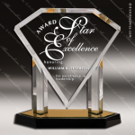 Acrylic Gold Accented Diamond Award Employee Trophy Awards