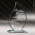 Tabour Flame Glass Jade Accented Torch Trophy Award Employee Trophy Awards
