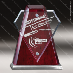 Glass Rosewood Accented Diamond Award Employee Trophy Awards