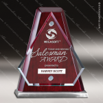 Glass Rosewood Accented Arrowhead Award Employee Trophy Awards