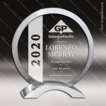Madara Circle Glass Silver Accented Round Trophy Award Employee Trophy Awards