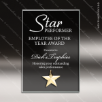 Macina Star Glass Gold Accented Smoked Rectangle Trophy Award Employee Trophy Awards