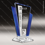 Machover Marquee Glass Blue Accented Peak Trophy Award Employee Trophy Awards