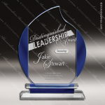 Machover Blaze Glass Blue Accented Flame Trophy Award Employee Trophy Awards