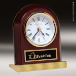Desk Gift Rosewood Gold Accented Clock Award Employee Trophy Awards