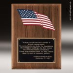 Walnut Plaque with an American Flag Employee Trophy Awards