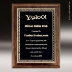 Walnut Stained Piano Finish Plaque with Brass Plate Employee Trophy Awards